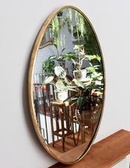 Mid-Century Oval Italian Wall Mirror with Brass Frame (circa 1950s)