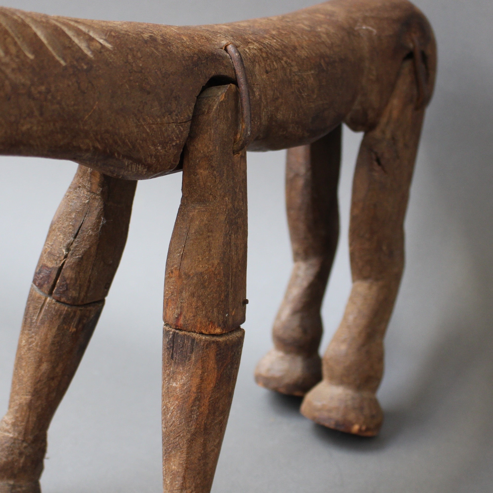 Antique Carved Wooden Horse Marionette (19th Century)