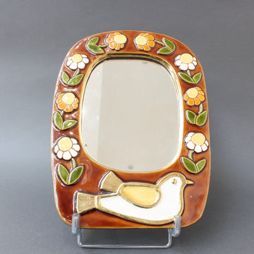 Ceramic Wall Mirror with Flower Motif and Stylised Bird by Mithé Espelt (circa 1960s)
