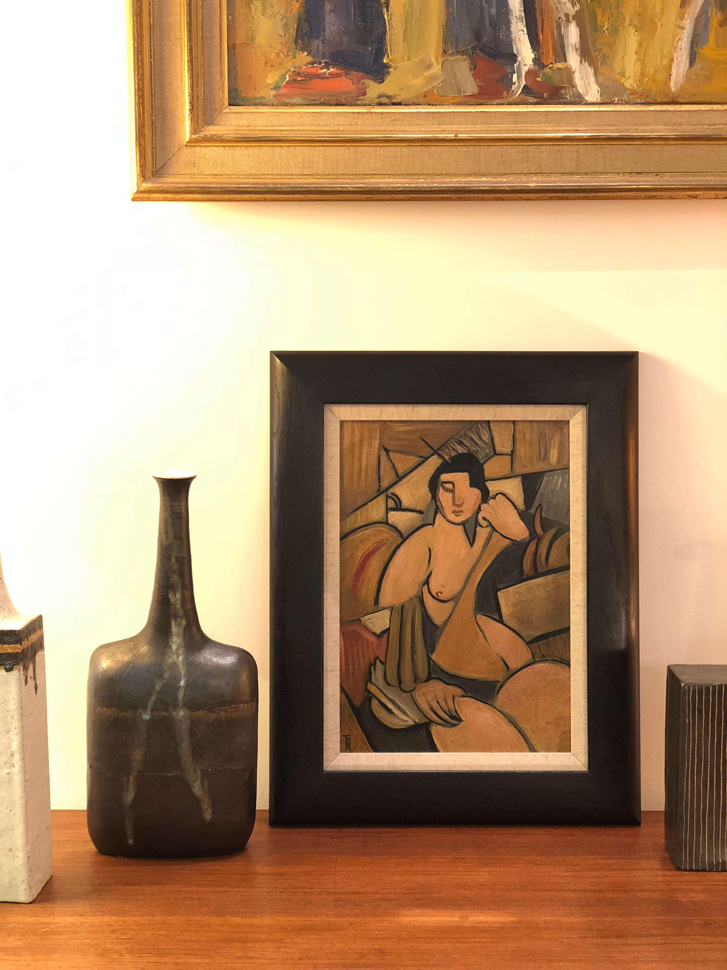 'Seated Cubist Nude' by T.R. (circa 1940s - 1960s)