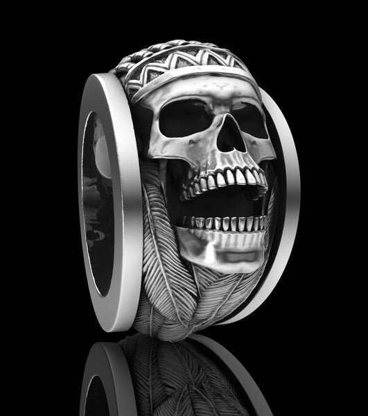 Indian chief sterling silver skull rings.