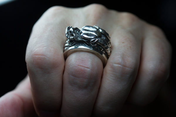 Sterling silver dragon ring.