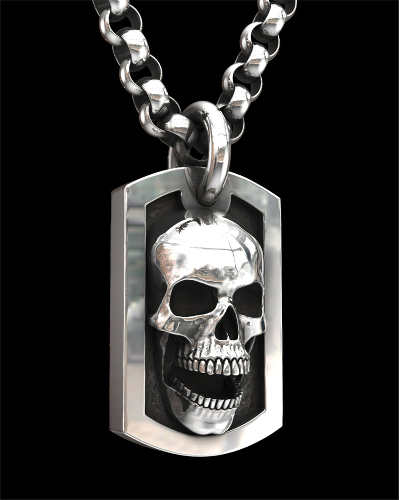 Dog Tag Skull Pendant