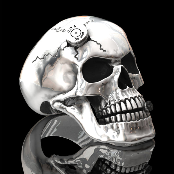 Bullet to the head skull ring
