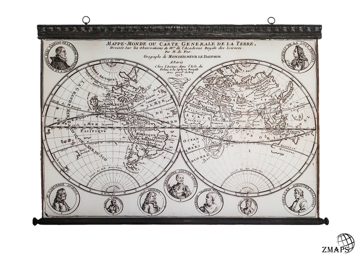 Double hemisphere map 1717,123 x 86 cm / 48'' x 33'', California shown as an island