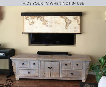 pull down map as a tv cover