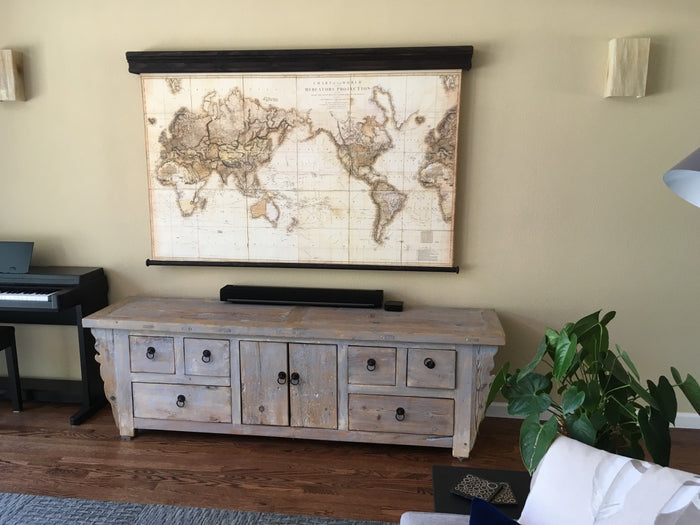 Spring pull down map system, Highest quality system, Cover, hide your TV screen, Old or modern canvas world map, Elegant wood furnishing