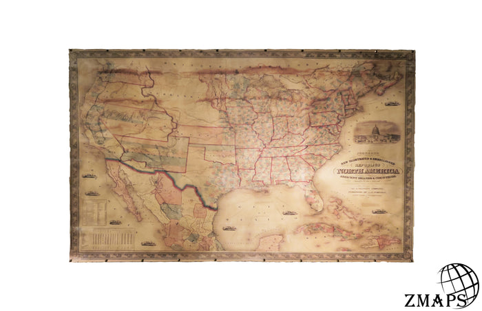 County map of the republics of North America 1859, USA history, 82.3''x 52.7'' / 209x134cm, Ready to hang, Cotton canvas, Bronze nails