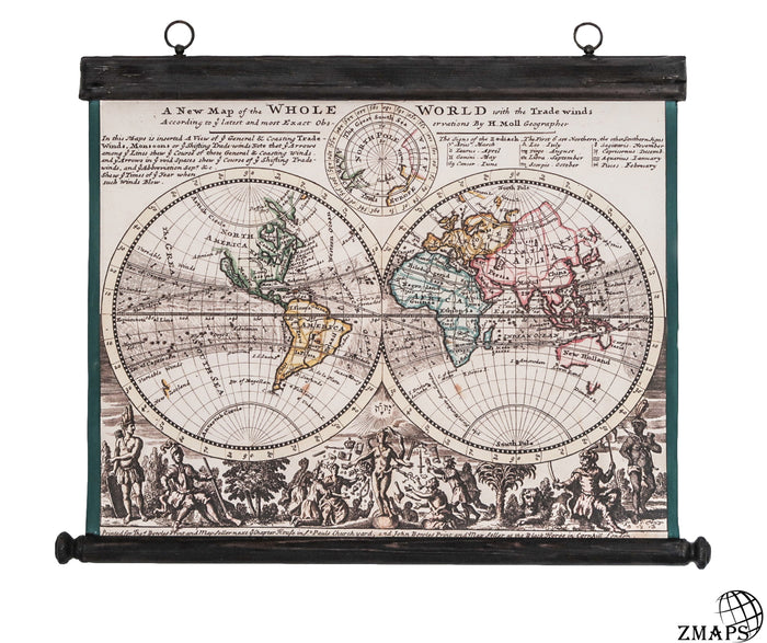 Od world map 1700,  24'' x 20'' // 60 x 50cm,  Explorers of 18th Century