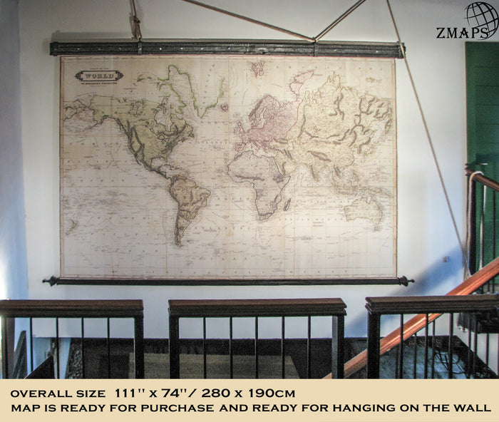 Magnificent huge map, World 1800, 111'' x 74''/ 280 x190cm, Canvas, Antique wood, Executive gift, Gothic, Industrial, Cottage, Chalet decor