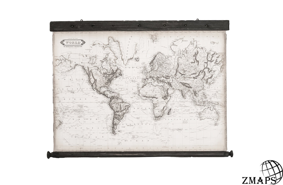 Mini world map 1800, 33'' x 24''/ 86 x61cm, Canvas, Vintage wood