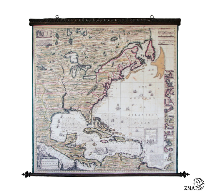Popple's Map, British Empire, America 1733, Pull down map, Canvas, Antique wooden frame, American Colonial, Library furniture, Settlements