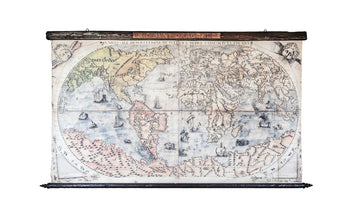 Large vintage world map showing monsters with antique wood and steel.