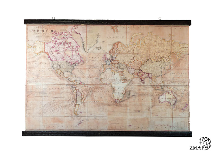 Old world maps zmaps rare pull down map world map 1800 cotton canvas 204 x 150 cm gumiabroncs Choice Image