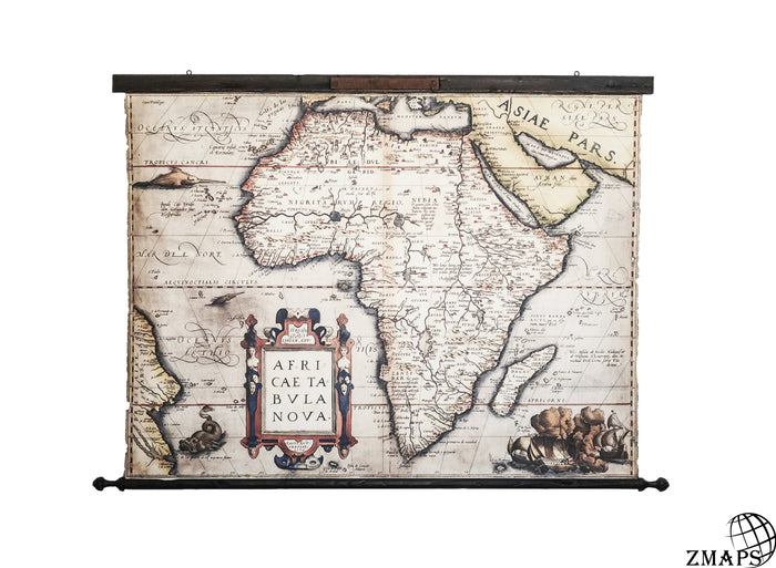 Old map of Africa, 1580, vintage wooden frame & rusty iron plaque