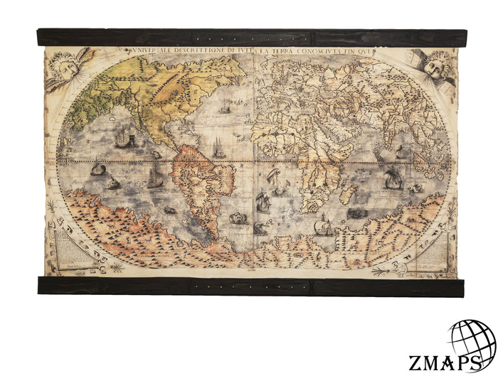 pull down world map, old map 1565, vintage wood