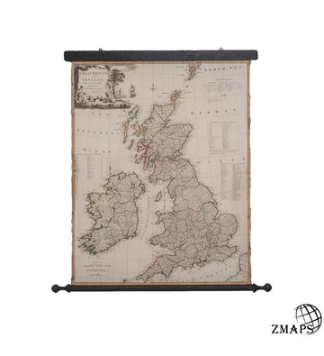 Old map showing Great Britain, Ireland, 1794, 95cm x 105cm, 37'' x 41'', Canvas and carved wood