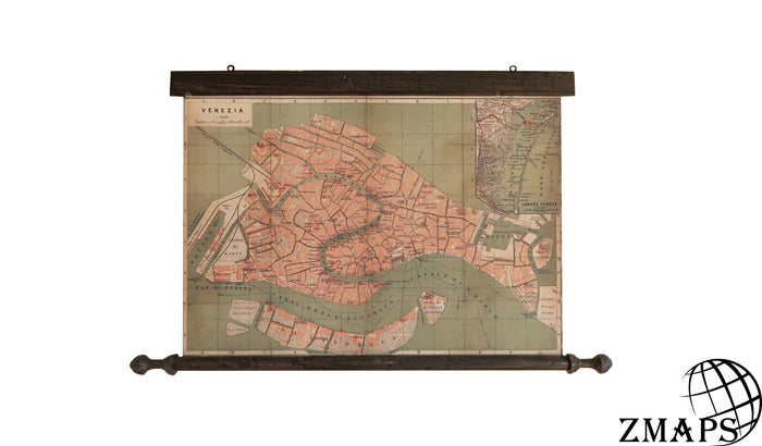 vintage map of Venice, antique wooden frame