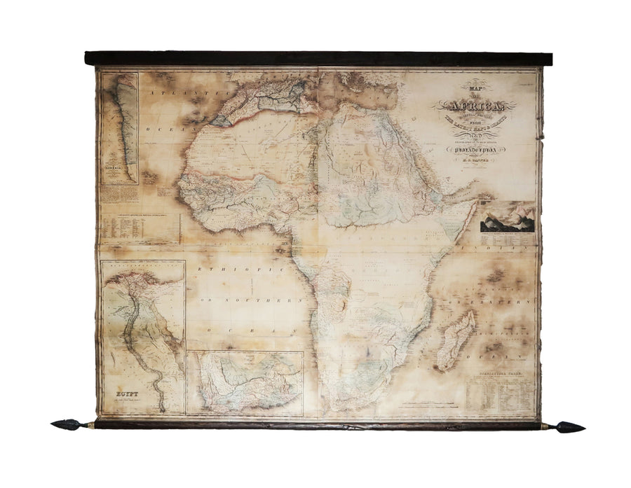 Old map of Africa in 1848,  Ancient wood, Cast bronze spears, Vintage canvas