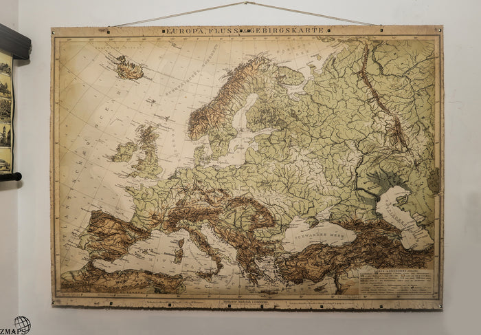 Topographical map, The Old world, Old map of Europe,  200x145cm/78''x57'',Highly decorative map&details,Cotton canvas Bronze nails