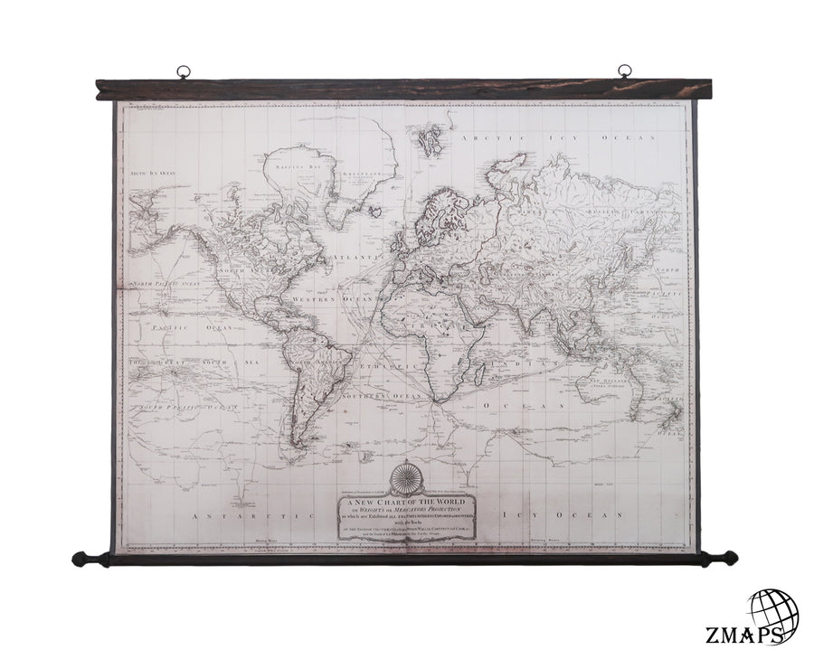 World map 1808, neutral colors, antique world map