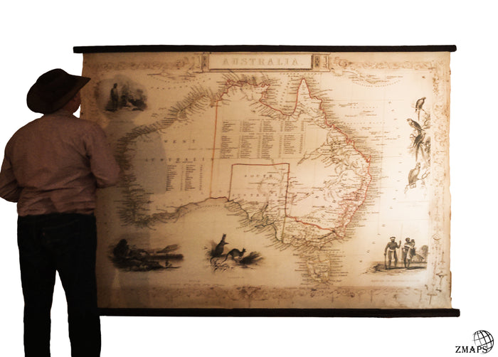 Products zmaps giant map australia cotton canvas readable map antique wood rustic industrial gumiabroncs Gallery