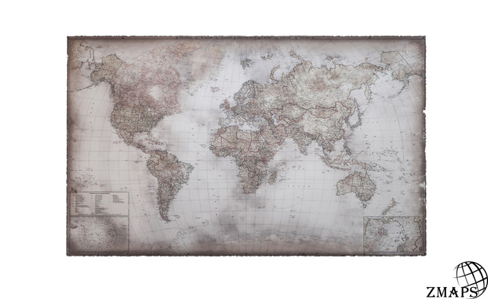 "Political map of today world, 61""x39"", 161 x 100 cm, vintage canvas"