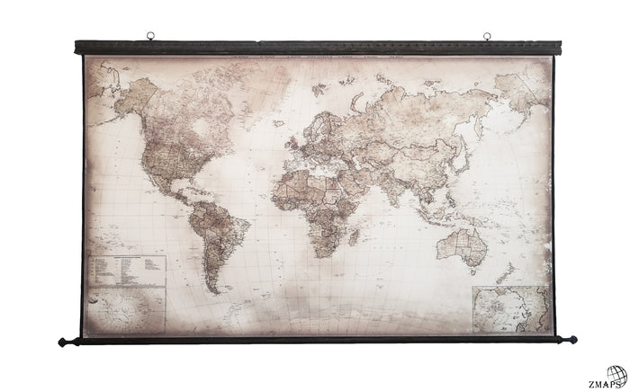 Pull Down Large Canvas – Push Pin Framed World Map | ZMAPS