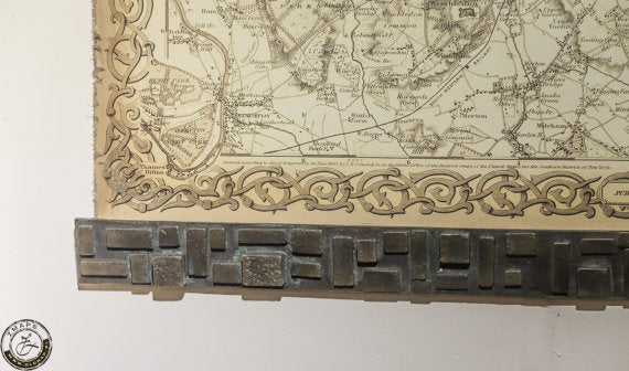 Bronze frame, Old map of London 130 x 108cm // 51'' x 42''