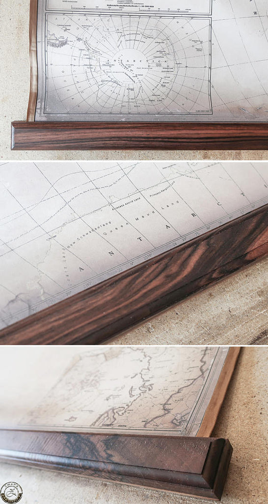"Classy modern map, 62""x39"", 157x100cm, Map of the world, Ancient walnut, Biedermeier style"