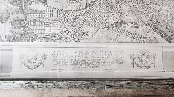 San Francisco city plan 1905, 132 x 132 cm / 51'' x 51'' , Vintage canvas and reclaimed wood