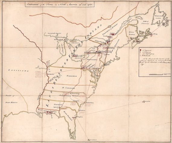 Map of the North American colonies and disposition of Revolutionary War forces 1765, custom size