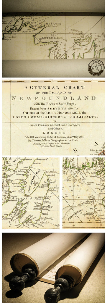 Newfoundland Old map  James Cook 1775, 93 x 101cm, 36'' x 40''