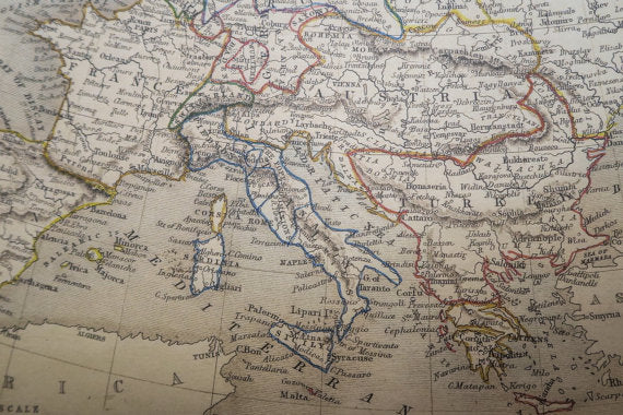 Vintage map of Europe 1851, 123x101cm/48''x39'',