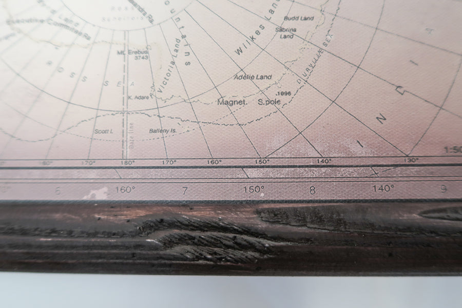 The world of today in ancient style, 76'' x 49'', 195 x 123 cm, Black satin map edges