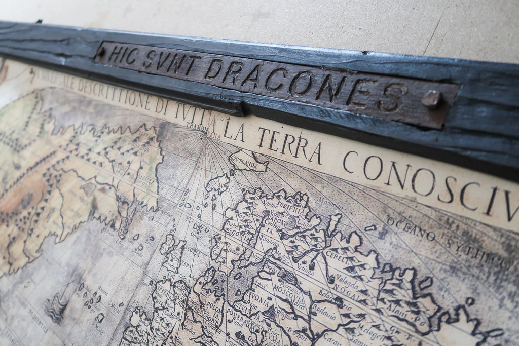 Beautiful world map, 67''x40'' / 172cm x 102cm, Dragon tail finials, Iron plaque Hic Svnt Dracones