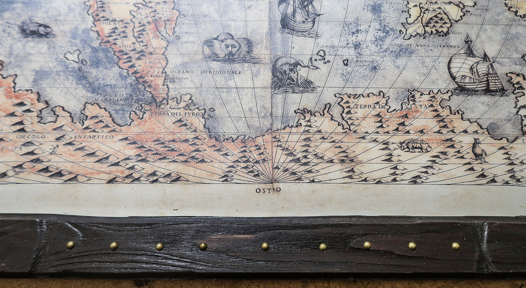round brass nails, ancient massive wood, readable map