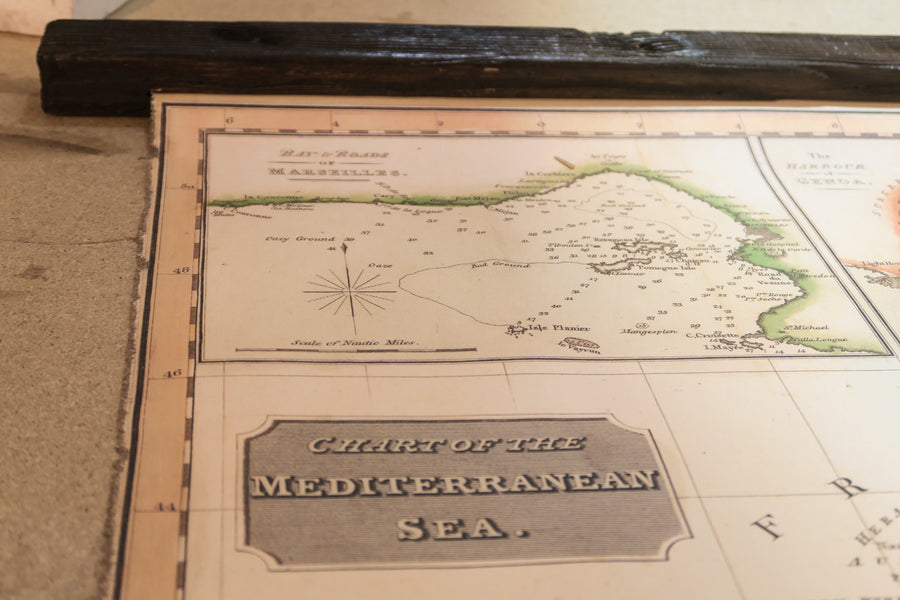 Pull down chart of the Mediterranean sea 1800, 126cm x 106cm / 49'' x 41'', Canvas antique wooden frame