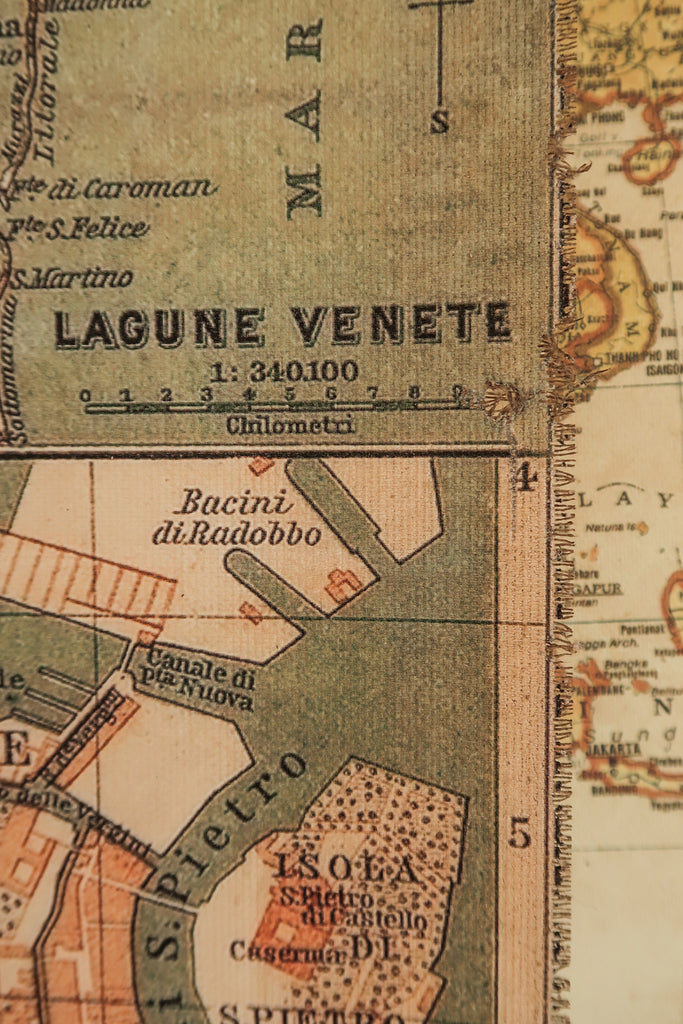 City plan of Venice in 1866, Italy