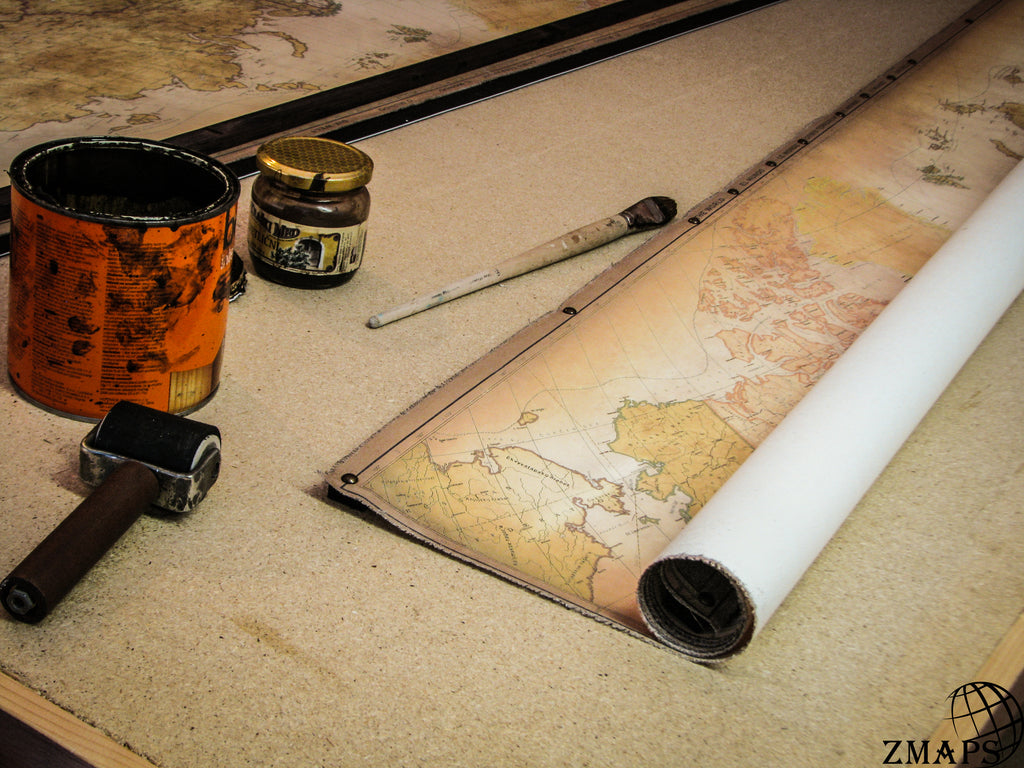 Modern world map with hidden pull down frame, Size 60'' x 37'' / 152 x 93 cm, Pushpin your travels