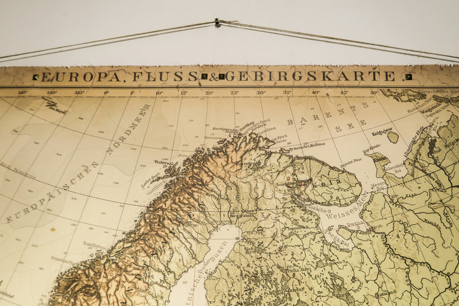 Topographical old map of Europe,  200x145cm/78''x57'', Highly decorative map&details