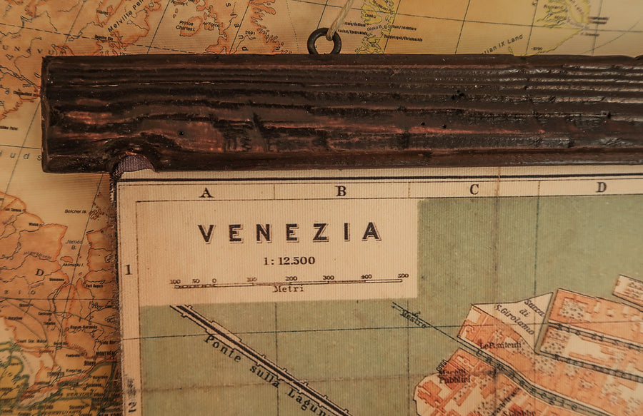 Detailed map and frame made of ancient wood for Italian wife.