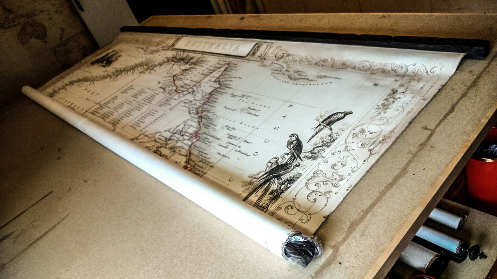 Huge old map of Australia, Vintage canvas, Perfectly readable map, Antique wood