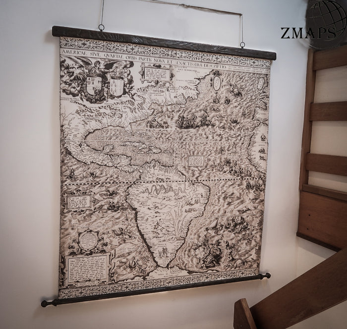 Rare old map of America in 1562, 57''x59'', 147x150cm, Cotton canvas, vintage wood, First use of name California, Sea creatures, cannibals