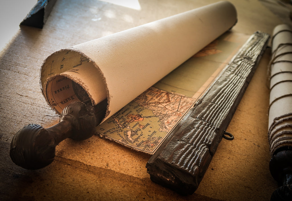 rolled antique map for gift