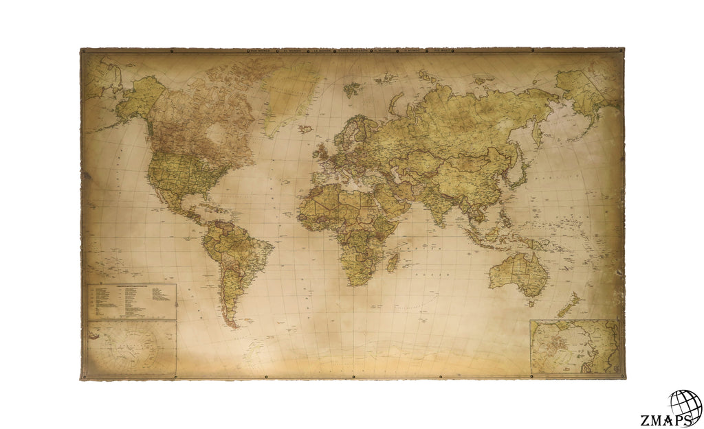 Modern world map with hidden pull down frame size 60 x 37 152 next gumiabroncs Gallery