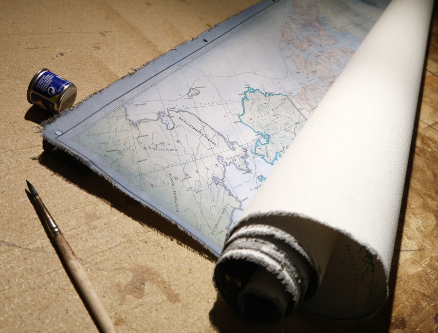 Rolled cotton canvas map ready for shipping.