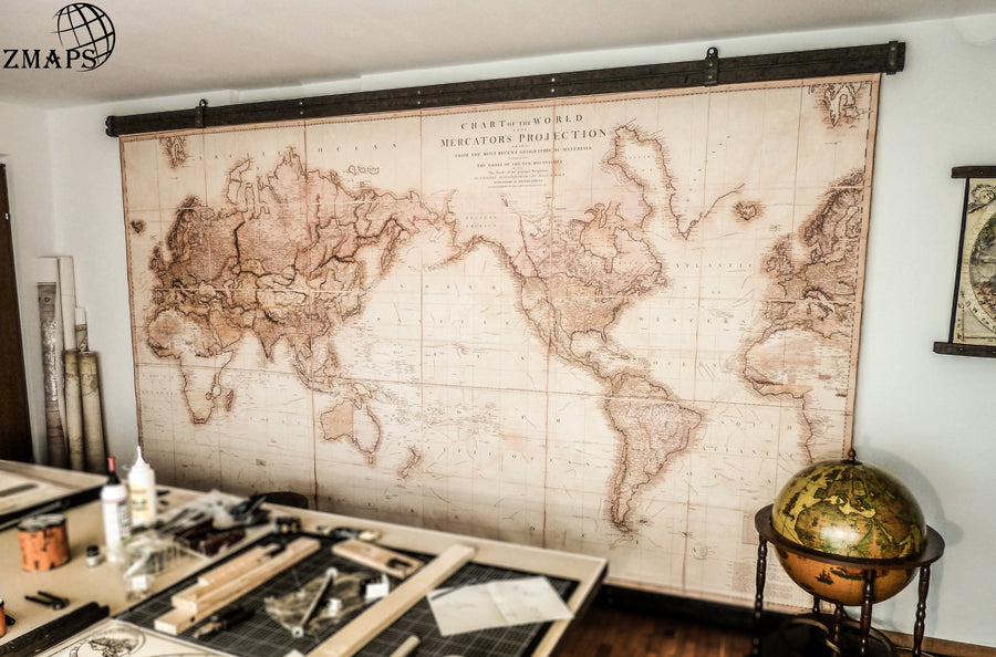 Large rustic farmhouse wall decoration vintage world map.