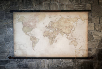 Luxury modern world map, 82''x45'', 209x116 cm, Engraved steel plaque Non omnes vagantes deerrant J.R.R. Tolkien, Iron finials Fleur de lis