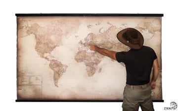 Largest modern world map 2019,  91'' x 57'', 233x147 cm, Elegant ancient wood, Push pin travel map